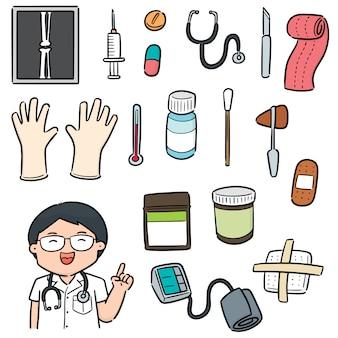 Insieme di vettore di personale medico e attrezzature mediche