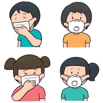 Insieme di vettore di persone che utilizzano maschera protettiva medica