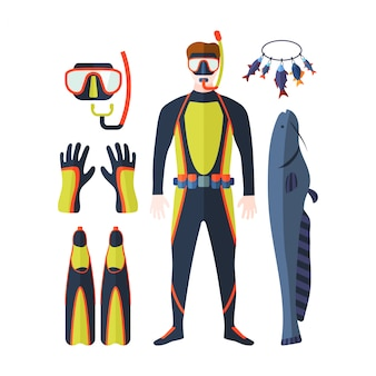 Insieme di vettore di pesca subacquea.