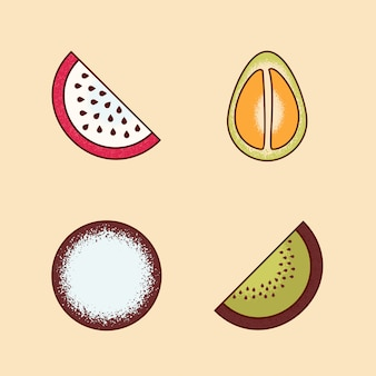 Insieme di vettore di pezzi di frutta pomelo, frutta del drago, pitaya, kiwi
