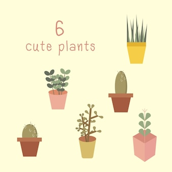 Insieme di vettore di piccolo albero e cactus.