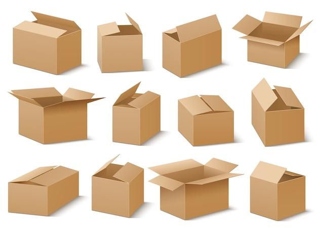 Insieme di vettore di scatole di cartone aperto e chiuso
