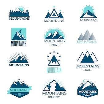 Insieme di vettore di simbolo della montagna