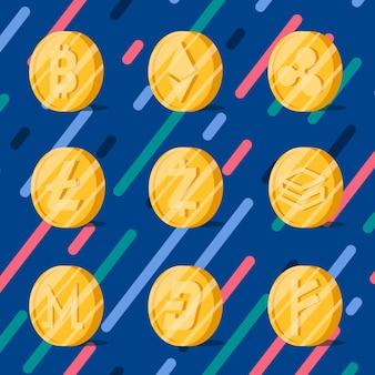 Insieme di vettore di simbolo di denaro elettronico criptovalute varie