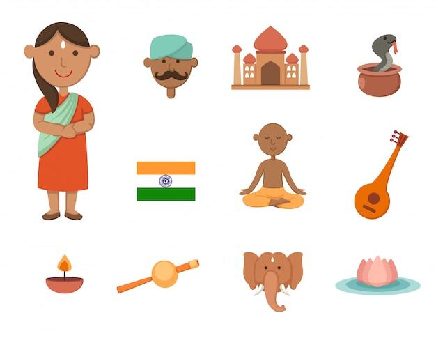 Insieme di vettore di simbolo di india