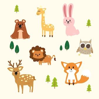 Insieme di vettore di simpatici animali del bosco.