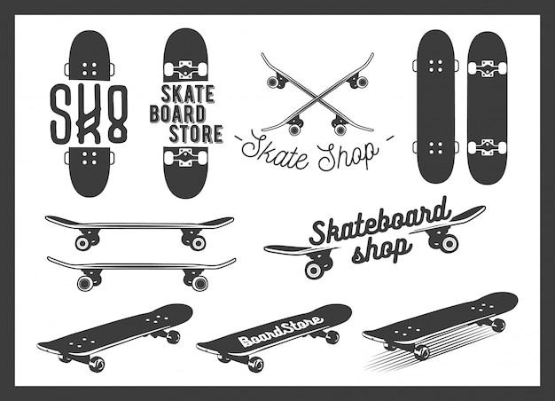 Insieme di vettore di skateboard emblemi desigb