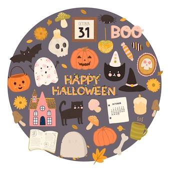 Insieme di vettore di stile disegnato felice degli elementi di progettazione di halloween a disposizione