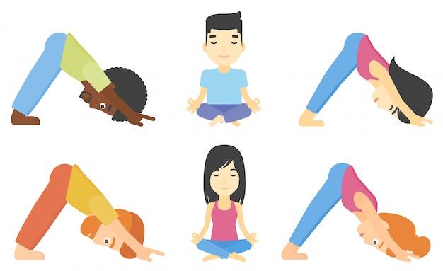 Insieme di vettore di uomini e donne che praticano yoga.