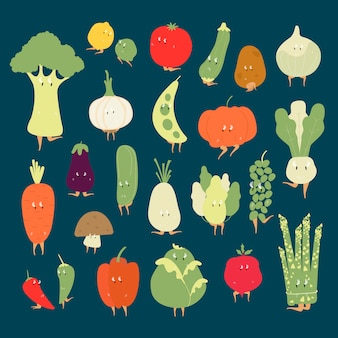 Insieme di vettore di vari personaggi dei cartoni animati di verdure organiche