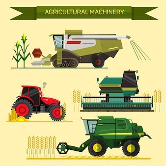 Insieme di vettore di veicoli agricoli e macchine agricole. trattori, mietitrebbie, mietitrebbie. illustrazione in design piatto. concetto di business di agricoltura. macchinari agricoli. raccolta delle colture agricole.
