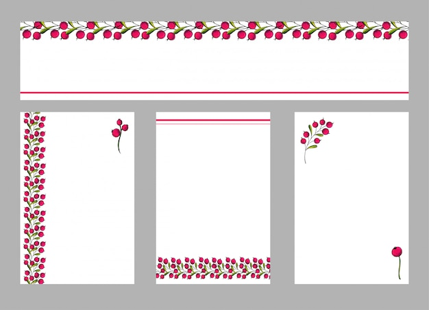 Insieme di vettore di volantini di cartoline con ornamento floreale.