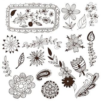 Insieme di vettore disegnato a mano fiori e cornici di mehendi