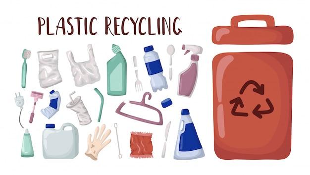 Insieme di vettore - rifiuti di plastica e contenitore per rifiuti, riciclaggio di plastica