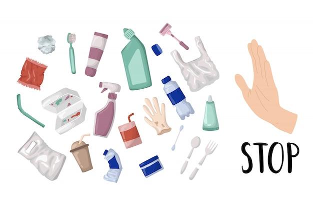 Insieme di vettore - rifiuti di plastica e rifiuti o immondizia, concetto zero di spreco
