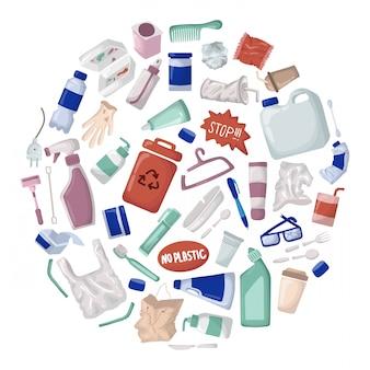 Insieme di vettore - rifiuti di plastica e rifiuti o immondizia, riciclaggio di plastica