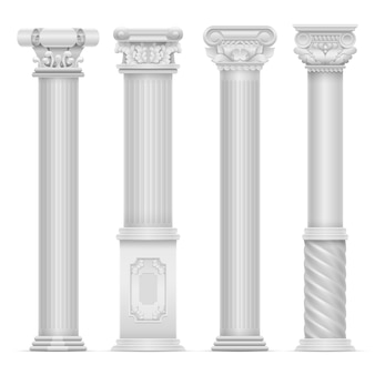 Insieme di vettore romano antico bianco realistico della colonna. costruire colonne di pietra. illustrazione antica della colonna di architettura della costruzione