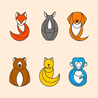 Insieme di vettori di animali colorati