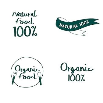 Insieme di vettori di tipografia di alimenti naturali e biologici