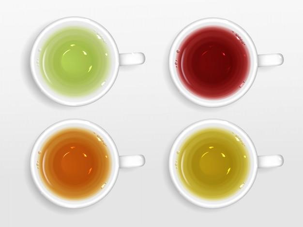 Insieme di vista superiore delle tazze di tè isolato