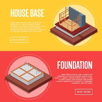 Insieme di web dell'insegna della costruzione della base della casa