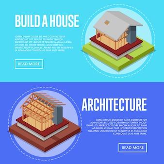 Insieme di web dell'insegna di architettura della casa della campagna