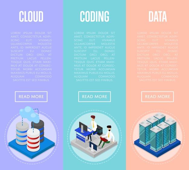Insieme di web dell'insegna di codifica e di amministrazione della nuvola di dati