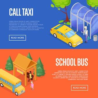 Insieme di web isometrico dell'insegna 3d della stazione dello scuolabus e del taxi