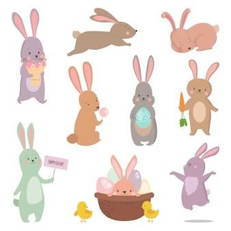 Insieme differente di vettore di posa del coniglietto del carattere del coniglio di pasqua