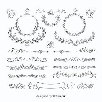 Insieme disegnato a mano adorabile dell'ornamento di nozze