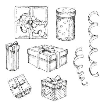 Insieme disegnato a mano d'annata del contenitore e dei pacchetti di regali di scarabocchio isolati su bianco