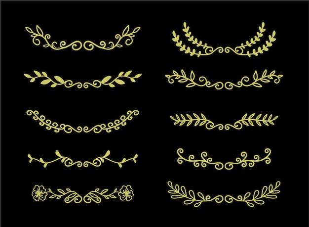 Insieme disegnato a mano degli elementi di bordi insieme, vettore floreale dell'ornamento dell'oro