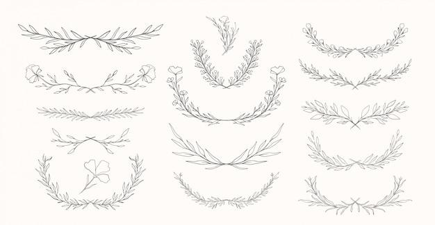 Insieme disegnato a mano dei divisori della natura vegetale. collezione di elementi botanici. elegante stile vintage