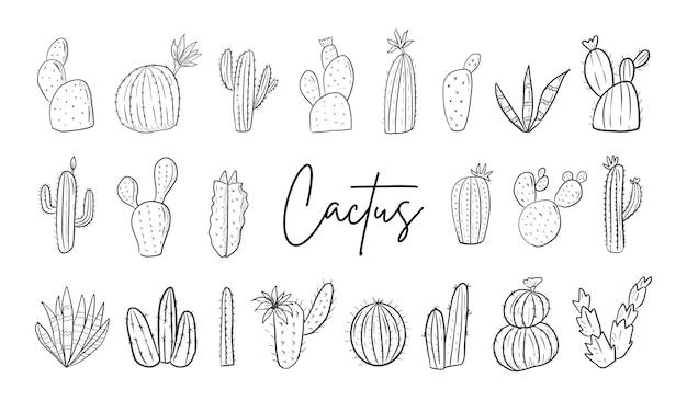 Insieme disegnato a mano del cactus illustrazione di arte linea grande