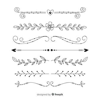 Insieme disegnato a mano del divisore ornamentale