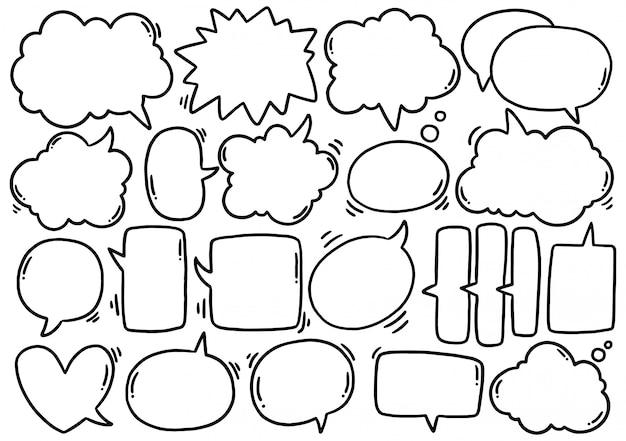 Insieme disegnato a mano del fumetto carino eith testo in stile doodle