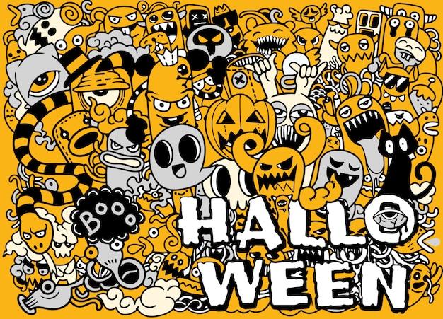 Insieme disegnato a mano del fumetto di doodle degli oggetti e dei simboli sul tema di halloween