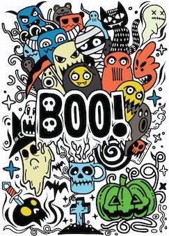 Insieme disegnato a mano del fumetto di doodle di oggetti e simboli sul tema di halloween