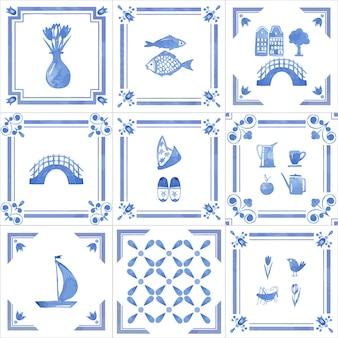 Insieme disegnato a mano dell'acquerello delle mattonelle dell'olanda