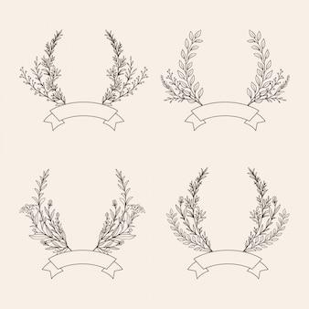 Insieme disegnato a mano dell'illustrazione della corona floreale