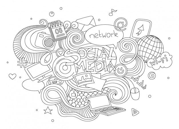Insieme disegnato a mano dell'illustrazione di scarabocchio di vettore del fumetto degli elementi sociali del segno e di simbolo di media