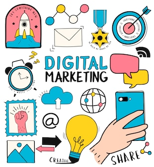 Insieme disegnato a mano dell'illustrazione di simboli di marketing digitale