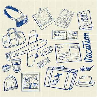 Insieme disegnato a mano dell'illustrazione di vacanze di viaggio di volo
