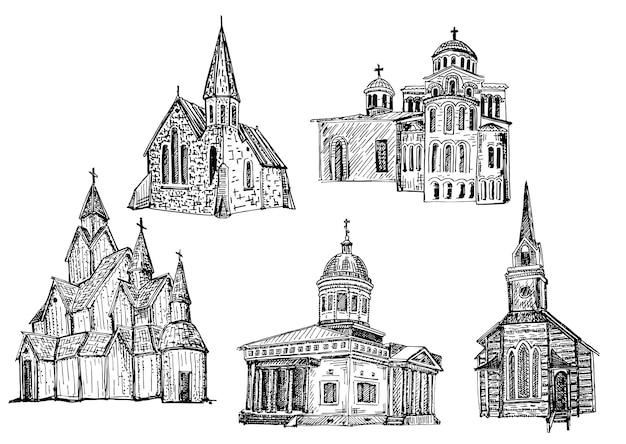 Insieme disegnato a mano della costruzione di chiesa
