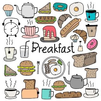 Insieme disegnato a mano della prima colazione di vettore di doodle