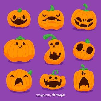 Insieme disegnato a mano della zucca di halloween