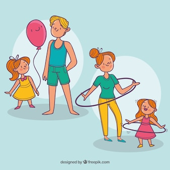 Insieme disegnato a mano delle famiglie facendo diverse attività