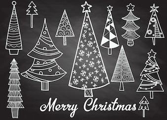 Insieme disegnato a mano di alberi di Natale. Sfondo di vacanze Doodle astratto disegno legni