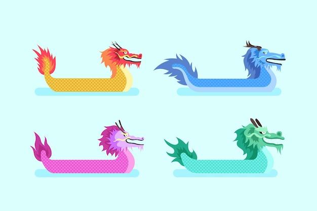 Insieme disegnato a mano di barche del drago