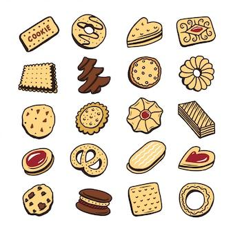Insieme disegnato a mano di biscotti biscotti dessert